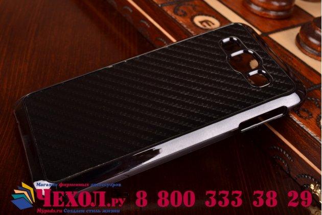 """Задняя панель-крышка из тончайшего и прочного пластика для Samsung Galaxy E5 с матовой отделкой """"под карбон"""" черная"""