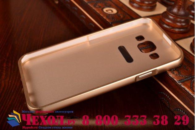 Фирменная металлическая задняя панель-крышка-накладка из тончайшего облегченного авиационного алюминия для Samsung Galaxy E5 золотая