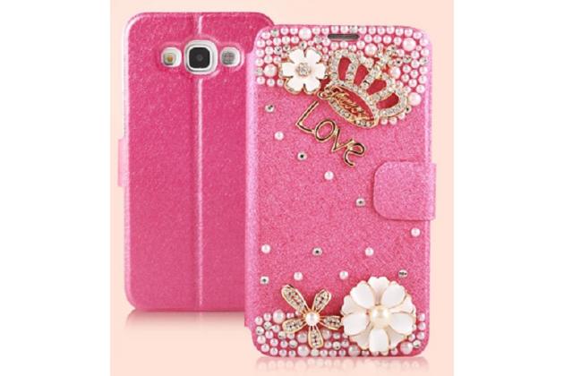 Фирменный роскошный чехол-книжка безумно красивый декорированный бусинками и кристаликами на Samsung Galaxy E5