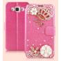 Фирменный роскошный чехол-книжка безумно красивый декорированный бусинками и кристаликами на Samsung Galaxy E5..