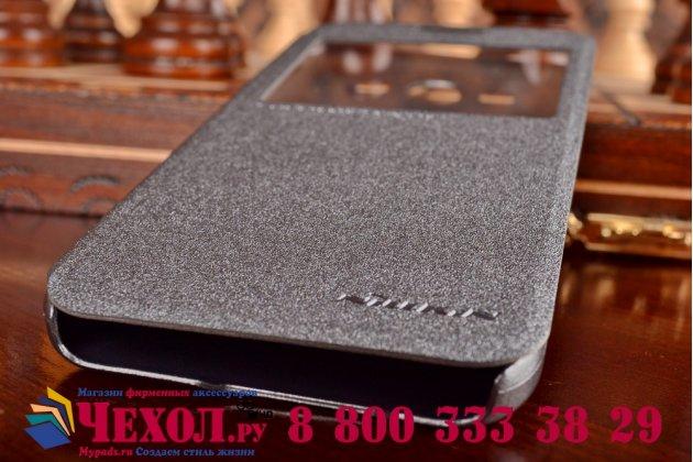 Фирменный оригинальный чехол-книжка для Samsung Galaxy E5 черный кожаный с окошком для входящих вызовов