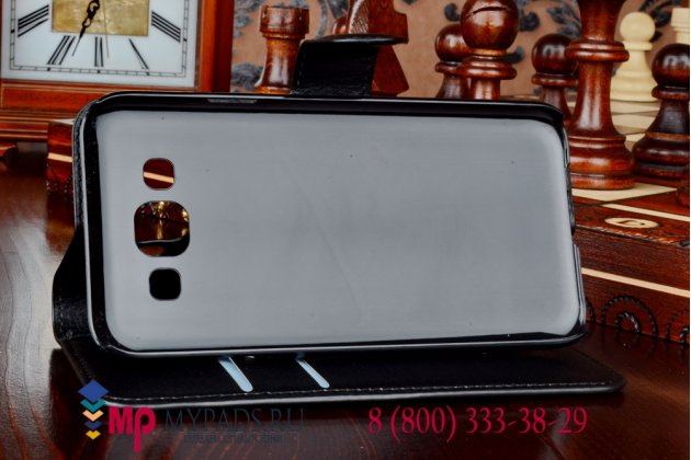 Фирменный чехол-книжка из качественной импортной кожи с подставкой застёжкой и визитницей для Samsung Galaxy E5 черный