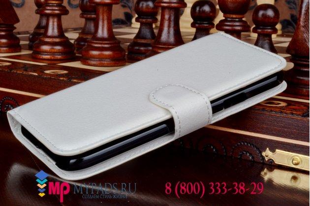 Фирменный чехол-книжка из качественной импортной кожи с подставкой застёжкой и визитницей для Samsung Galaxy E5 белый