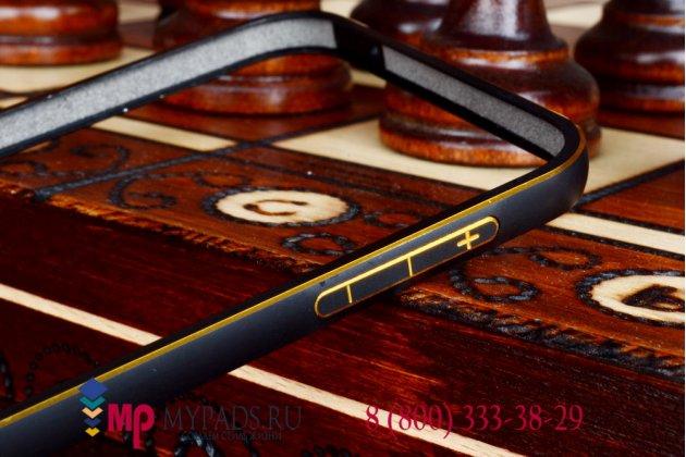 Фирменный оригинальный ультра-тонкий чехол-бампер для Samsung Galaxy E5 черный металлический