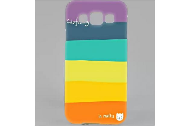"""Фирменная необычная из легчайшего и тончайшего пластика задняя панель-чехол-накладка для Samsung Galaxy E5 """"тематика Все цвета Радуги"""""""