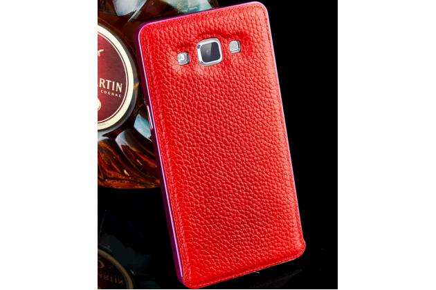 Фирменная роскошная элитная премиальная задняя панель-крышка на металлической основе обтянутая импортной кожей для Samsung Galaxy E5 королевский красный