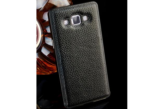 Фирменная роскошная элитная премиальная задняя панель-крышка на металлической основе обтянутая импортной кожей для Samsung Galaxy E5 королевский черный
