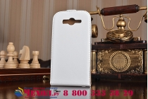 Фирменный оригинальный вертикальный откидной чехол-флип для Samsung Galaxy Grand Neo GT-I9060/DS белый из натуральной кожи Prestige