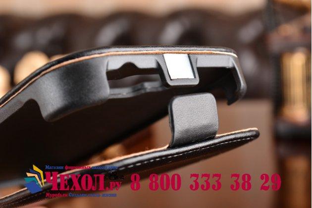 Фирменный оригинальный вертикальный откидной чехол-флип для Samsung Galaxy Grand Neo GT-I9060/DS черный из натуральной кожи Prestige