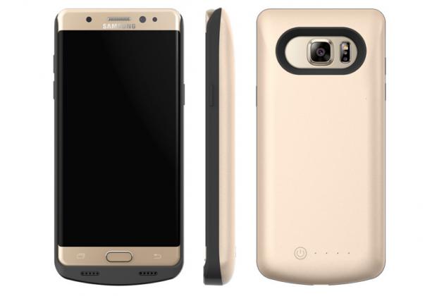 """Чехол-бампер со встроенной усиленной мощной батарей-аккумулятором большой повышенной расширенной ёмкости 10000mAh для Samsung Galaxy Note 7 SM-N930F 5.7"""" золотой + гарантия"""