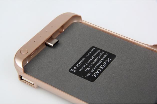 """Чехол-бампер со встроенной усиленной мощной батарей-аккумулятором большой повышенной расширенной ёмкости 6500mAh для Samsung Galaxy Note 7 SM-N930F 5.7"""" золотой + гарантия"""