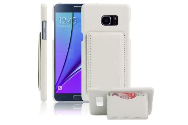 """Фирменная роскошная элитная премиальная задняя панель-крышка для Samsung Galaxy Note 7 SM-N930F 5.7"""" из качественной кожи буйвола с визитницей белая"""