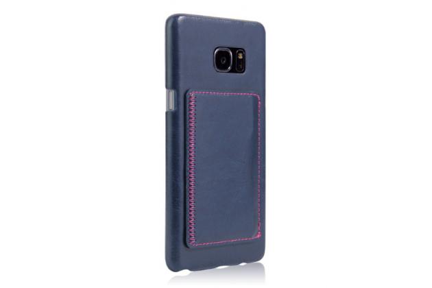"""Фирменная роскошная элитная премиальная задняя панель-крышка для Samsung Galaxy Note 7 SM-N930F 5.7""""  из качественной кожи буйвола с визитницей синяя"""