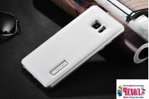 Фирменная роскошная элитная премиальная задняя панель-крышка на металлической основе обтянутая импортной кожей для Samsung Galaxy Note 7 SM-N930F 5.7 королевский белый
