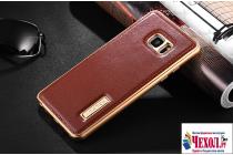 Фирменная роскошная элитная премиальная задняя панель-крышка на металлической основе обтянутая импортной кожей для Samsung Galaxy Note 7 SM-N930F 5.7 королевский коричневый