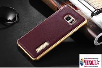 Фирменная роскошная элитная премиальная задняя панель-крышка на металлической основе обтянутая импортной кожей для Samsung Galaxy Note 7 SM-N930F 5.7 королевский красный