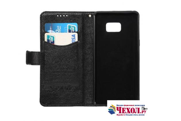 """Фирменный чехол-книжка для  Samsung Galaxy Note 7 SM-N930F 5.7""""  с визитницей и мультиподставкой черный кожаный"""