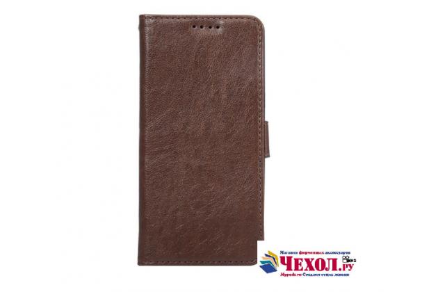 """Фирменный чехол-книжка для  Samsung Galaxy Note 7 SM-N930F 5.7"""" с визитницей и мультиподставкой коричневый кожаный"""