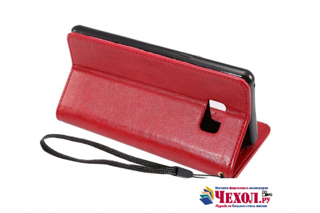"""Фирменный чехол-книжка для Samsung Galaxy Note 7 SM-N930F 5.7"""" с визитницей и мультиподставкой красный кожаный"""