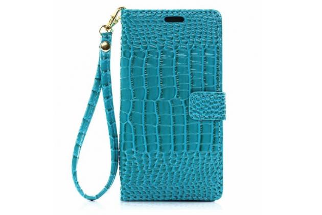 """Фирменный чехол-книжка с подставкой для  Samsung Galaxy Note 7 SM-N930F 5.7"""" лаковая кожа крокодила бирюзовый"""