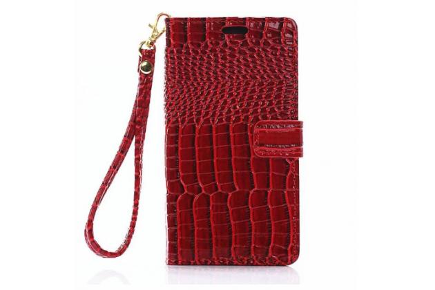 """Фирменный чехол-книжка с подставкой для  Samsung Galaxy Note 7 SM-N930F 5.7""""  лаковая кожа крокодила алый огненный красный"""