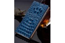 """Фирменный роскошный эксклюзивный чехол с объёмным 3D изображением рельефа кожи крокодила синий для Samsung Galaxy Note 7 SM-N930F 5.7"""". Только в нашем магазине. Количество ограничено"""