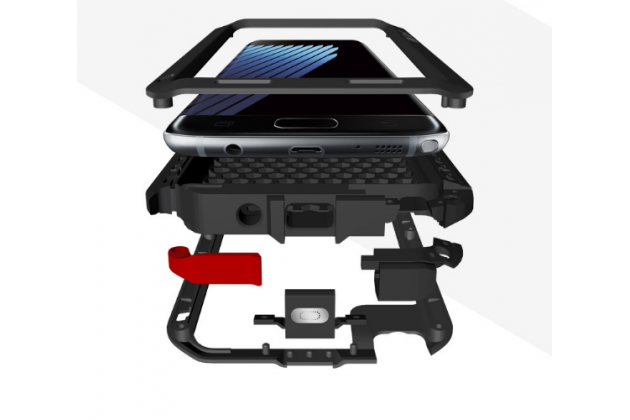 """Неубиваемый водостойкий противоударный водонепроницаемый грязестойкий влагозащитный ударопрочный фирменный чехол-бампер для Samsung Galaxy Note 7 SM-N930F 5.7"""" цельно-металлический со стеклом Gorilla Glass серебряный"""