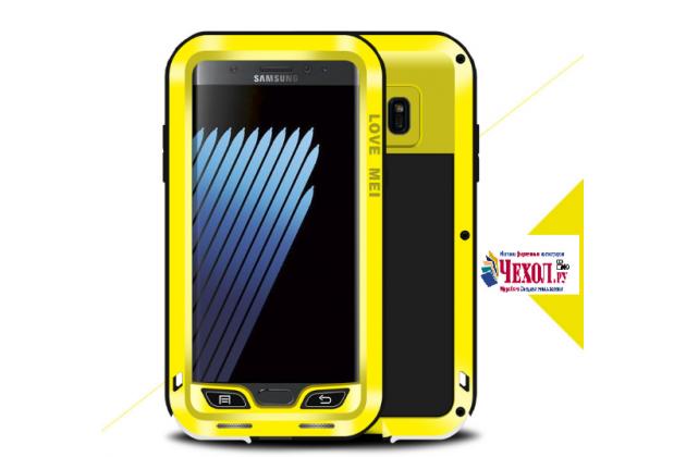 """Неубиваемый водостойкий противоударный водонепроницаемый грязестойкий влагозащитный ударопрочный фирменный чехол-бампер для Samsung Galaxy Note 7 SM-N930F 5.7"""" цельно-металлический со стеклом Gorilla Glass желтый"""