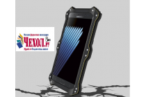 """Противоударный металлический чехол-бампер из цельного куска металла с усиленной защитой углов и необычным экстремальным дизайном с функцией беспроводной зарядки  для  Samsung Galaxy Note 7 SM-N930F 5.7"""" черного цвета"""