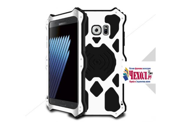 """Противоударный металлический чехол-бампер из цельного куска металла с усиленной защитой углов и необычным экстремальным дизайном с функцией беспроводной зарядки  для  Samsung Galaxy Note 7 SM-N930F 5.7"""" серебряного цвета"""