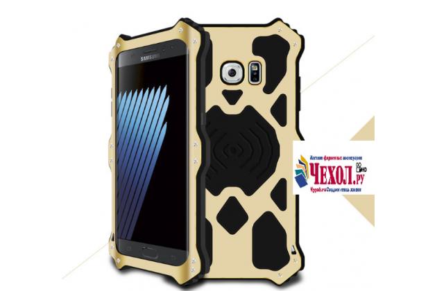 """Противоударный металлический чехол-бампер из цельного куска металла с усиленной защитой углов и необычным экстремальным дизайном с функцией беспроводной зарядки длям Samsung Galaxy Note 7 SM-N930F 5.7"""" золотого цвета"""