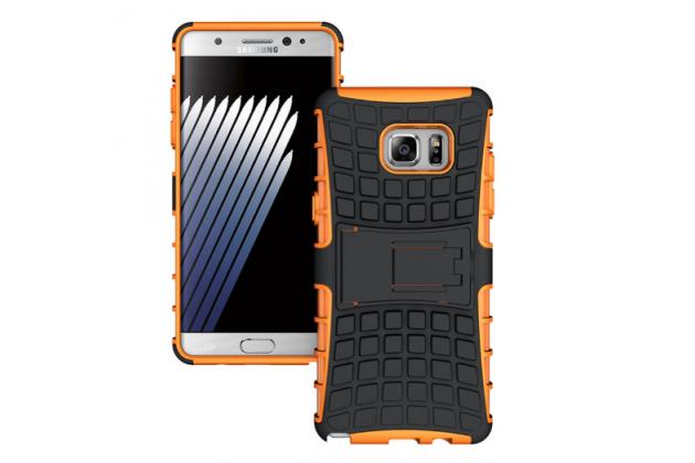 """Противоударный усиленный ударопрочный фирменный чехол-бампер-пенал для Samsung Galaxy Note 7 SM-N930F 5.7"""" оранжевый"""