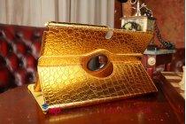 Фирменный чехол для Samsung Galaxy Note Pro 12.2 SM-P9000/P9010/P9050 кожа крокодила золотой