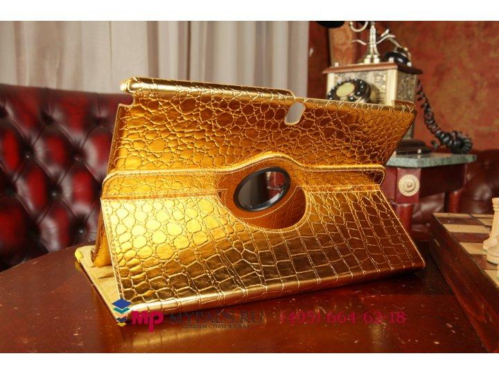 Фирменный чехол для Samsung Galaxy Note Pro 12.2 SM-P9000/P9010/P9050 кожа крокодила золотой..