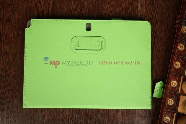 """Фирменный чехол-футляр для Samsung Galaxy Note Pro 12.2 SM-P9000/P9010/P9050 с визитницей и держателем для руки зеленый натуральная кожа """"Prestige"""" Италия"""