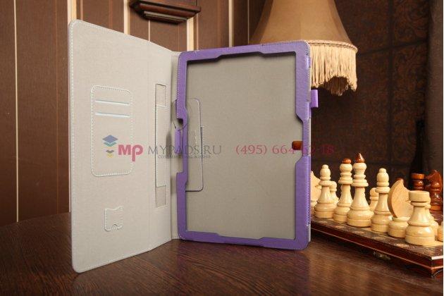 """Фирменный чехол-сумка для Samsung Galaxy Note Pro 12.2 SM-P900/P901/P905 с визитницей и держателем для руки фиолетовый натуральная кожа """"Prestige"""" Италия"""