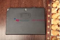 """Фирменный чехол-обложка для Samsung Galaxy Note Pro 12.2 P900/P905 с визитницей и держателем для руки черный натуральная кожа """"Prestige"""" Италия"""