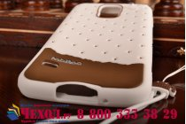 """Фирменная необычная уникальная полимерная мягкая задняя панель-чехол-накладка для Samsung Galaxy S5 SM-G900H/G900F """"тематика Андроид в Белом Шоколаде"""""""