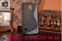 Фирменная ультра-тонкая полимерная из мягкого качественного силикона задняя панель-чехол-накладка для Samsung Galaxy S5 SM-G900H/G900F черная