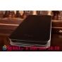 Фирменный чехол-книжка из качественной водоотталкивающей импортной кожи на жёсткой металлической основе для Samsung Galaxy S5 mini  черный