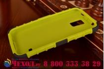 Противоударный усиленный ударопрочный фирменный чехол-бампер-пенал для Galaxy S5 SM-G900H/G900F зелёный
