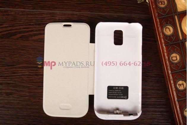 Чехол-книжка со встроенной усиленной мощной батарей-аккумулятором большой повышенной расширенной ёмкости 3500mAh для Samsung Galaxy S5 SM-G900H/G900F белый + гарантия