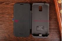 Чехол-книжка со встроенной усиленной мощной батарей-аккумулятором большой повышенной расширенной ёмкости 3500mAh для Samsung Galaxy S5 SM-G900H/G900F черный + гарантия