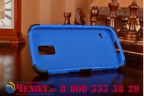 Противоударный усиленный ударопрочный фирменный чехол-бампер-пенал для Samsung Galaxy S5 SM-G900H/G900F синий