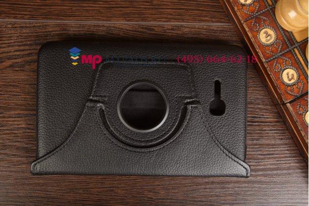 Чехол для Samsung Galaxy Tab 3 Lite 7.0 поворотный роторный оборотный черный кожаный