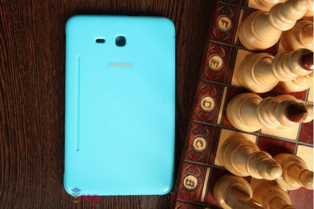 """Чехол с логотипом для Samsung Galaxy Tab 3 Lite 7.0 SM-T110/T111 с дизайном """"Book Cover"""" голубой"""