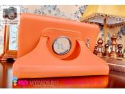 Чехол для Samsung Galaxy Tab 3 Lite 7.0 SM T110/T111 поворотный роторный оборотный оранжевый кожаный..
