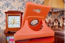 Чехол для Samsung Galaxy Tab 3 Lite 7.0 SM T110/T111 поворотный роторный оборотный оранжевый кожаный