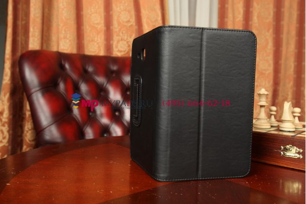 """Фирменный чехол-футляр для Samsung Galaxy Tab 3 Lite 7.0 SM-T110/T111 с визитницей и держателем для руки черный натуральная кожа """"Prestige"""" Италия"""