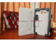 Фирменный чехол-футляр для Samsung Galaxy Tab 3 Lite 7.0 SM-T110/T111 с визитницей и держателем для руки черны..